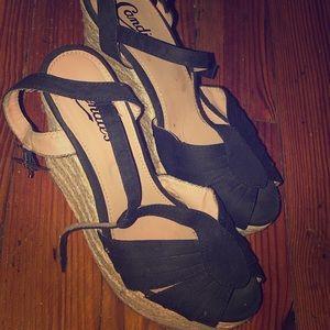 Black and beige Wedge Heels